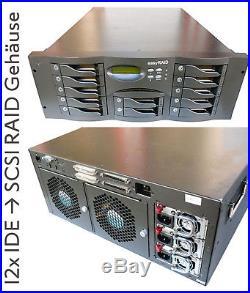 12x Ide Hard Drive Over SCSI Raid System 64-bit Risc Cpu Easy Raid X12p Case