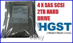 4 X 2TB 3.5 HGST Hitachi 7.2KRPM SAS SCSi Server Hard drive with Tray, SAS HDD