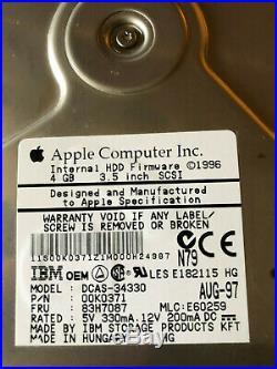 Apple / IBM Dcas-34330 4gb 50pin SCSI Hard Drive P/n00k0371 Fru83h7087