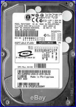 Fujitsu MAP3735NP 73.5GB Ultra 320 68-pin SCSI Hard Drive P/N CA06200-B26300DL