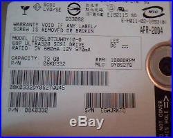 Hard Drive Disk SCSI Hitachi Ultrastar 73GB 08K0332 IC35L073UWDY10-0 DY0S27Q