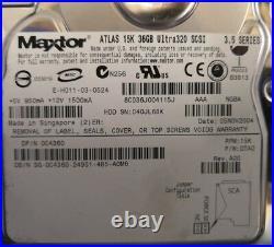- LOT OF 7 Maxtor Atlas 3.5 36GB 80 PIN 15K SCSI U320 Hard Drive C4360 @@@