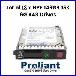 Lot of 13 x HPE 146GB 15K 6G SAS 15K 2.5'' SC Hard Drive 652605-B21 653950-001