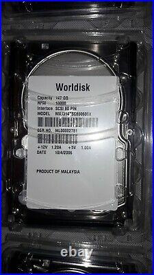 Lot of 16 New Worldisk & Qualitas Hard Drives 147 GB, 73 GB, 36 GB, 18.4 GB