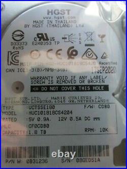 New HGST 1,8TB 2,5 512e Hard Drive HDD 10k SAS 12G 0B31236 HUC101818CS4204
