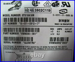 Seagate St318418n 18gb SCSI 50 Pin. Internal 3.5 Hard Drive 72k RPM